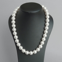 Chunky White Swarovski Pearl Necklace - Single Strand Wedding Jewellery - Gifts