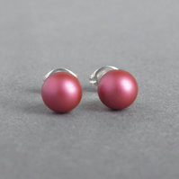 6mm Dark Pink Glass Pearl Stud Earrings - Small Fuchsia Ball Studs for Women