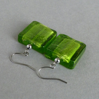 Big Lime Fused Glass Dangle Earrings - Bright Green Square Statement Earrings