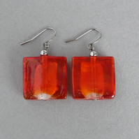 Big Bright Red Fused Glass Dangle Earrings - Large Scarlet Square Drop Earrings