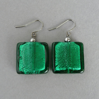 Big Teal Fused Glass Dangle Earrings - Large Emerald Green Square Drop Earrings