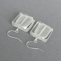 Big White Square Dangle Earrings - Square Silver Foil Lined Fused Glass Earrings