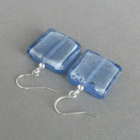 Large Pale Blue Fused Glass Drop Earrings - Big Light Blue Square Dangle Earring