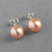 8mm Coral Peach Swarovski Pearl Stud Earrings - Round Apricot Ball Studs - Gifts