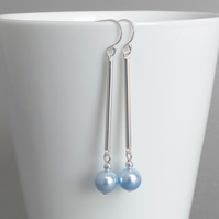 Light Blue Swarovski Pearl and Sterling Silver Dangle Earrings - Pale Blue Drops