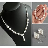 White Pearl Stardust Jewellery Set - Y Necklace, Bracelet and Drop Earrings