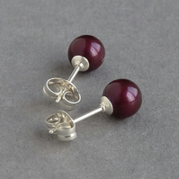 6mm Round Plum Stud Earrings - Small Blackberry Swarovski Pearl Studs for Women