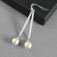 Long Cream Pearl and Sterling Silver Bar Dangle Earrings - Simple Drop Earrings
