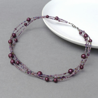 Plum Twisted Pearl Necklace - Blackberry Multi Strand Necklaces - Purple Gifts