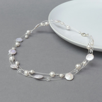 White Freshwater Pearl Necklace - Ivory Floating Pearl Bridal Jewellery - Gifts
