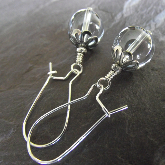 Grey Quartz sterling silver earrings