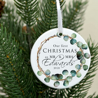 Our first Christmas as Mr and MRS ornament - Christmas tree decoration -