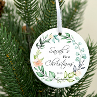 Baby's first Christmas ornament - baby name Christmas tree decoration