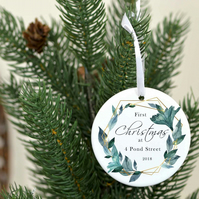First Christmas at address personalized bauble - Christmas tree decoration