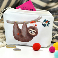 Sloth gift vegan wallet zipper money pouch - Sloth coin purse - Sloth change pur