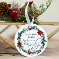 Family Christmas ornament name decoration - Personalized family gift - Family tr