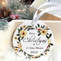 Personalized address Christmas ornament - First Christmas at address bauble