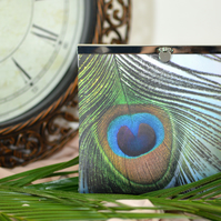 Peacock feather clutch bag - Handmade wedding purse gift for wife on anniversary