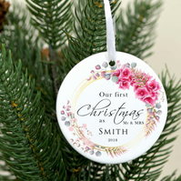 First Christmas married ornament - Personalized Christmas as Mr and Mrs ornament