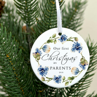 First time Christmas decoration personalized - Our first Christmas as parents