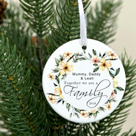 Personalized family ornament - Blended Family celebration keepsake ornament - To