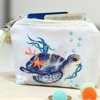 Sea turtle keychain wallet card holder - Turtle gift vegan wallet stocking stuff