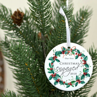 Engaged Christmas ornament - Our first Christmas engaged tree decoration - Chris