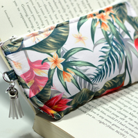 Tropical sunglasses holder padded pouch for glasses - Fabric glasses case zipped