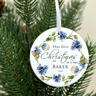 Personalized Mr and MRS ornament - Christmas tree decoration - Our first Christm