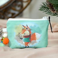 Fox wallet coin pouch - Cute wallet kids purse - Fox gift Christmas stocking fil