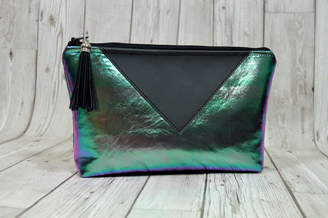 Holographic makeup bag green, mermaid fabric pouch