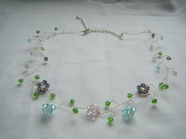 Delicate Crystal Twisted Wire Flower Necklace Folksy