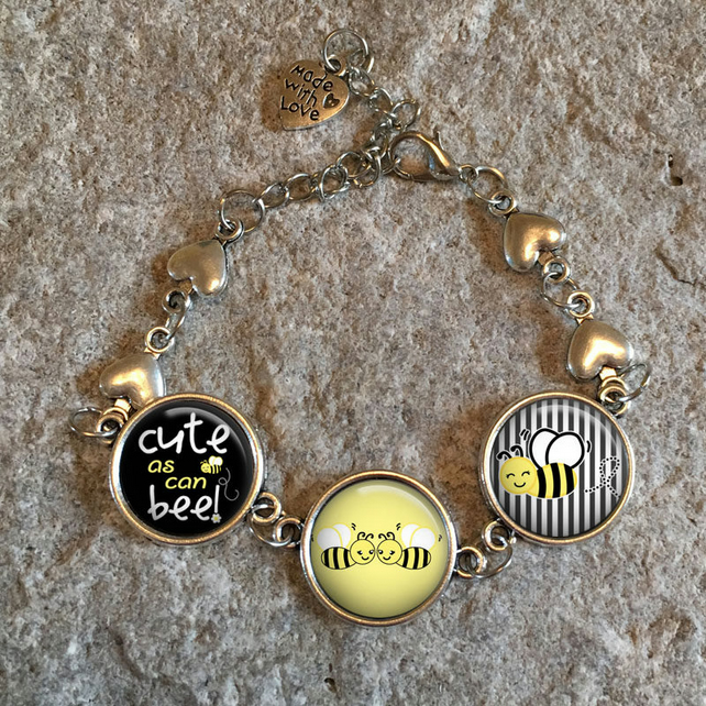 Bee Bumble Bee Heart Bracelet, Bees, Save the Bees, honey bee, bee jewelry, bee