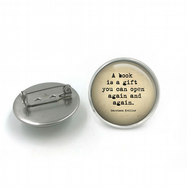 Book Quote Glass Dome Button Pin Badge, Literacy Sayings Pin Badge, Book Sayings
