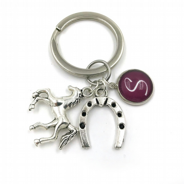 Personalised Horse Gift Charm Keychain, charm,personalized gift, keyring, initia