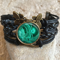 Green Malachite Braided Clasp Bracelet