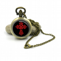 Gothic Horror Pocket Watch Necklace, Gothic Jewellery, Gothic Horror jewelry, ho