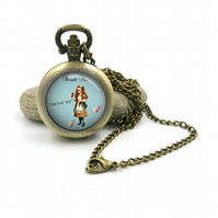 Alice In Wonderland Pocket Watch Necklace, mad hatter, Alice, Eat Me, tea party,