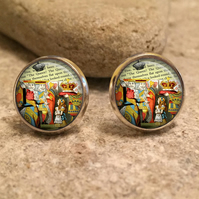 Alice In Wonderland Stud Earrings, mad hatter, Alice, Eat Me, tea party, wonderl