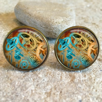 Vintage Steampunk Cogs Clock Glass Dome Round Cabochon Cuff Links Gift UK