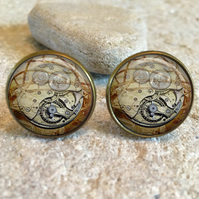 Vintage Steampunk Twirl Clock Glass Dome Round Cabochon Cuff Links Gift UK