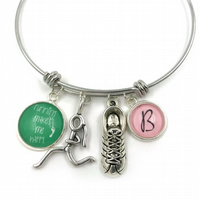 Personalised Running Charm Bracelet, Bangle, Personalized Bracelet, Initial Brac