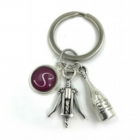 Personalised Wine Lovers Charm Keychain, charm,personalized gift, gift for her,