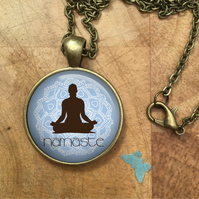 YOGA Pose Glass Dome Round Cabochon Necklace Pendant Gift UK