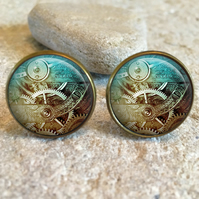 Vintage Steampunk Industrial Clock Glass Dome Round Cabochon Cuff Links Gift UK
