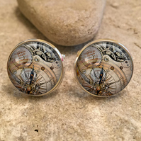 Vintage Steampunk Five Clock Glass Dome Round Cabochon Cuff Links Gift UK
