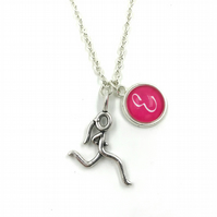 Running Charm Necklace, Personalized Necklace, Initial Charm, Monogram, cross co