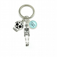 Personalised Skull Charm Keychain, charm,personalized gift, gift for her, skull