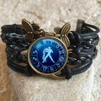 Aquarius Star Sign Braided Clasp Bracelet