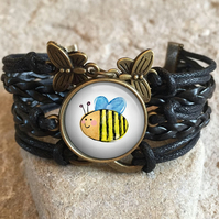 Cute Bee Braided Clasp Bracelet